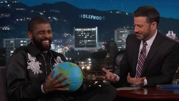 ff747905b85 Jimmy Kimmel surprised flat-earther Kyrie Irving with a globe ...