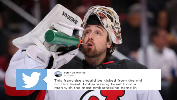 size 40 ade87 9ff5b Devils goaltender Keith Kinkaid chirps Penguins fan after ...