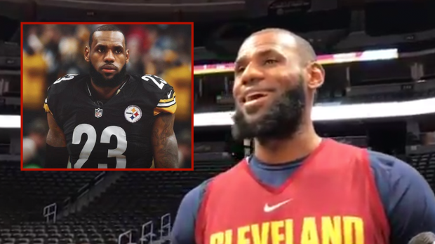 the latest 6a25e f107a LeBron James jokingly attributes his clothing as the reason ...