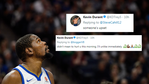 Durant was back on Twitter & Instagram replying to trolls ...