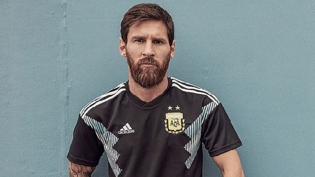 Argentinian soccer star Lionel Messi poses in his country's away kit 2018 World Cup Uniform.