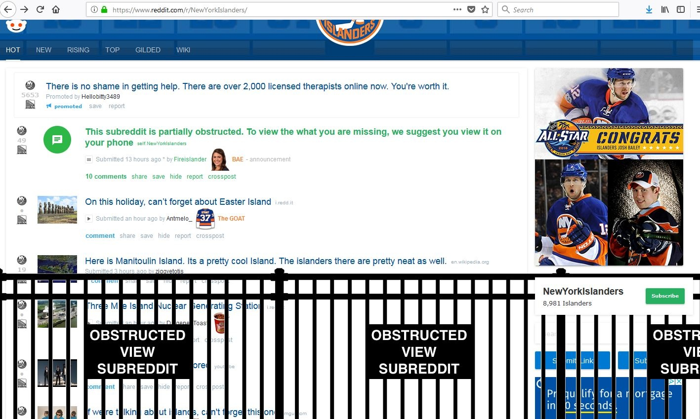 Someone gave the Islanders' Reddit page a partially