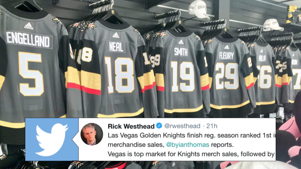 pretty nice bf338 d8465 The four top markets for Golden Knights merch sales outside ...