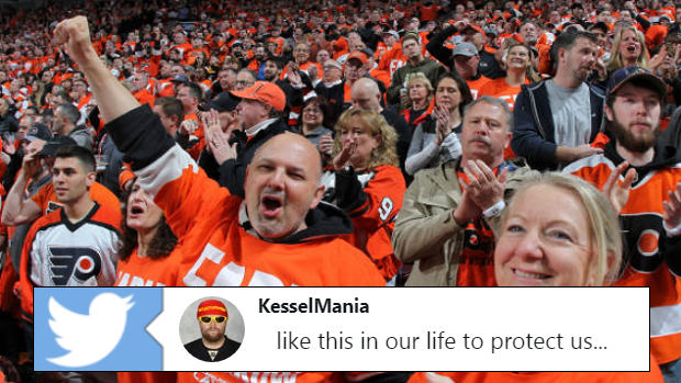 Philadelphia Flyers fans celebrate during Game 6.