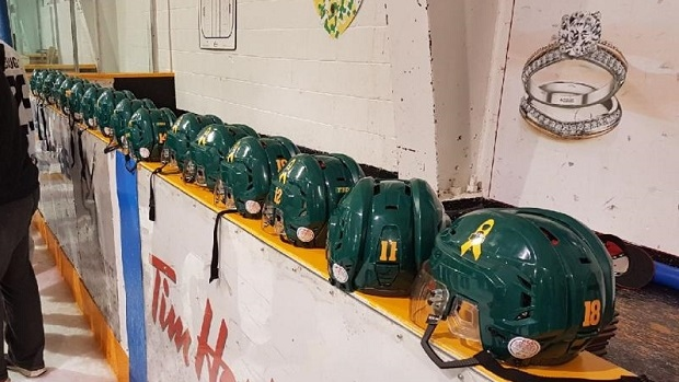 Nipawin Hawks Honour Humboldt Broncos By Rocking Green Helmets During SJHL Final