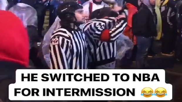 The referees were back at it at Maple Leafs Square, this time officiating two sports.