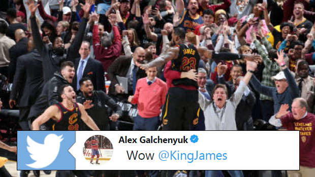 LeBron James celebrates after draining the game-winning shot in Game 5.