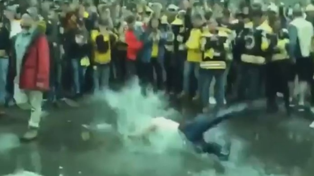Bruins Fan Celebrates Game 7 Victory By Swimming In A Massive Puddle In The Middle Of The Street (video)