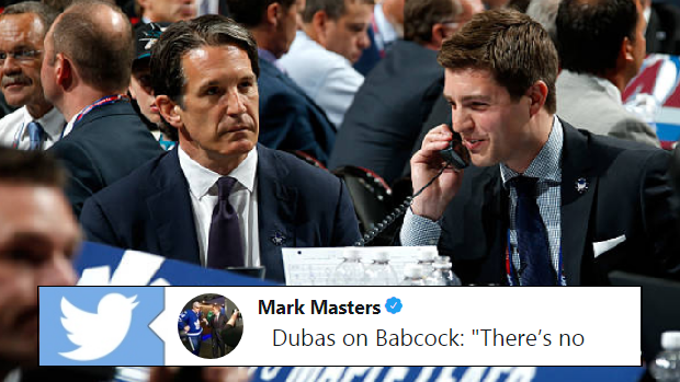 Toronto Maple Leafs President Brendan Shanahan sits with GM Kyle Dubas at the 2015 NHL Draft.