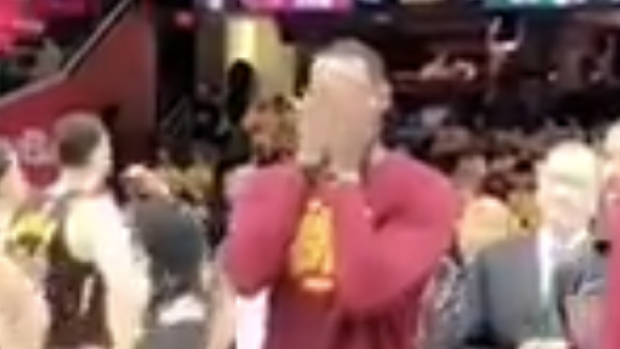 LeBron James played peek-a-boo with his daughter during timeout in
