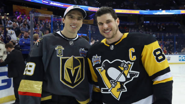 Marc-Andre Fleury of the Vegas Golden Knights (left) with Pittsburgh Penguins captain Sidney Crosby.