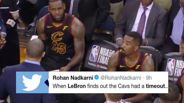 cbf9e7712ccc Uncut footage from Game 1 shows LeBron s heartbreaking reaction to finding  out Cavs had a timeout - Article - Bardown