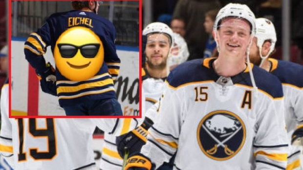 pretty nice dd9a9 92895 Fans can't stop laughing at Jack Eichel's horrifically ...