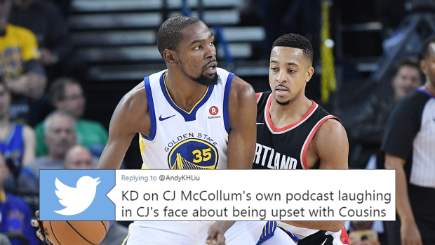 5d72bd1339e0 Kevin Durant was brutally honest about the Trailblazers  chances on CJ  McCollum s podcast - Article - Bardown