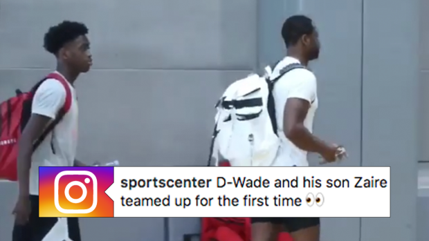 Dwyane Wade and his 16-year-old son Zaire teamed up for the first