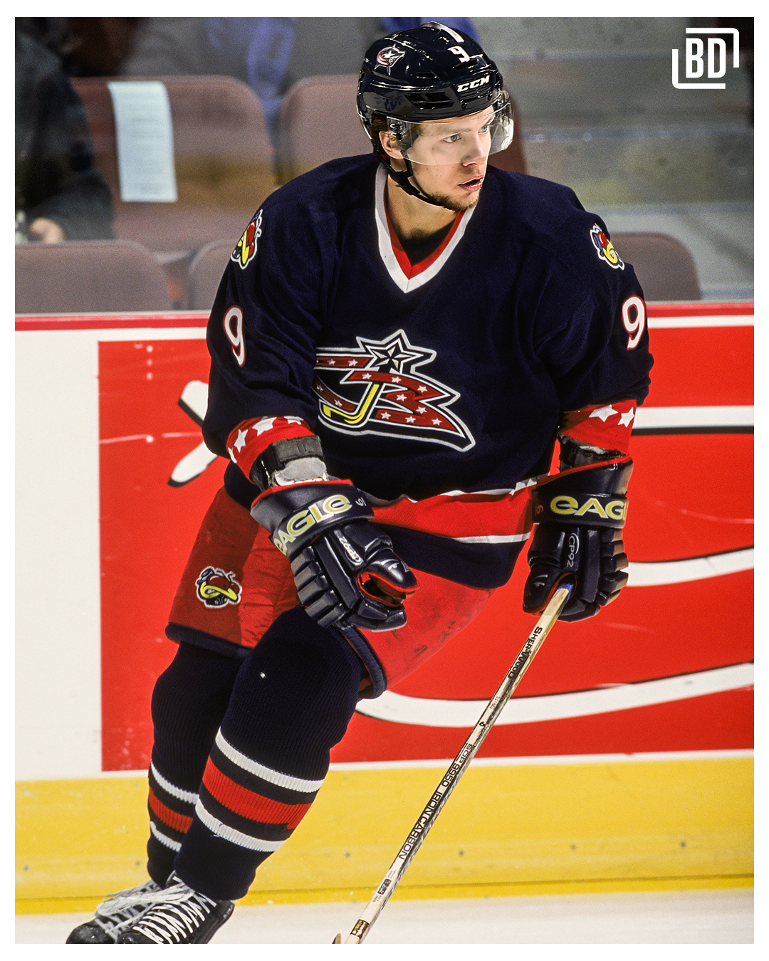 Columbus  first jersey was a classic thanks to the bug on the shoulders and  the main logo featuring a hockey stick 47602ebab