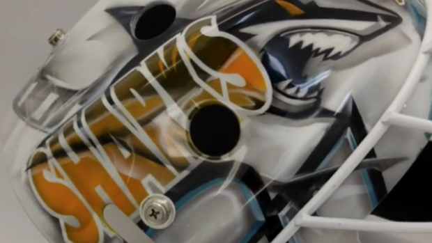 Sharks Third Stringer Antoine Bibeau Has An Incredible Jaws Themed