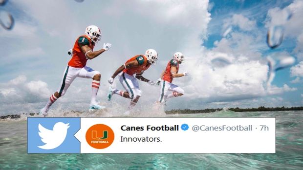 8a7f7cf290b Miami Hurricanes introduce first-ever football uniforms featuring  repurposed and upcycled materials - Article - Bardown
