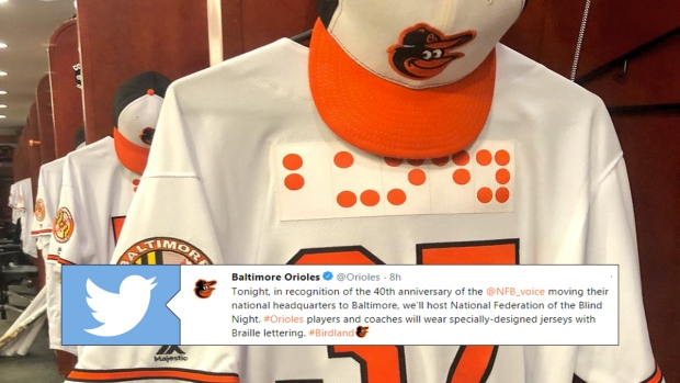 b84af2bcd4b Orioles become first American professional sports team to incorporate Braille  lettering on uniforms - Article - Bardown