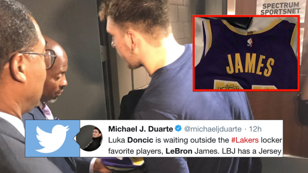 new product 50954 1030b LeBron gave rookie Luka Doncic his jersey with a ...