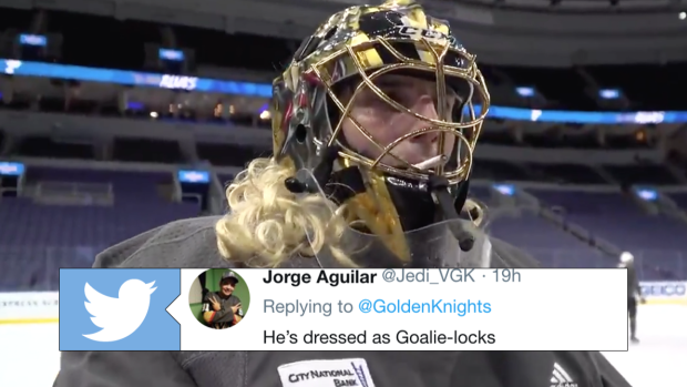 Marc-Andre Fleury practiced in his Halloween costume and it was
