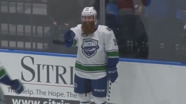 Com Continuous News Colorado >> Everyone's favourite player Colton Saucerman scores first career AHL goal in first game with ...