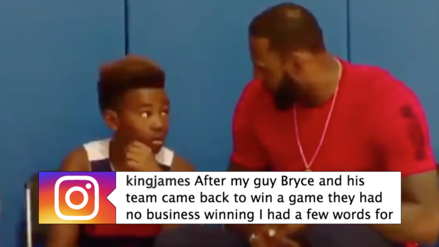 This video of LeBron giving his son some words of encouragement ... f94bac141