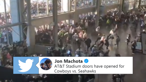 12f035d00 Wild video of Cowboys fans being let in the stadium includes one ...