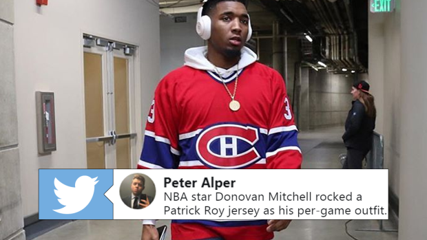 the best attitude 9d260 3fdac Donovan Mitchell used a Patrick Roy pregame outfit to prove ...