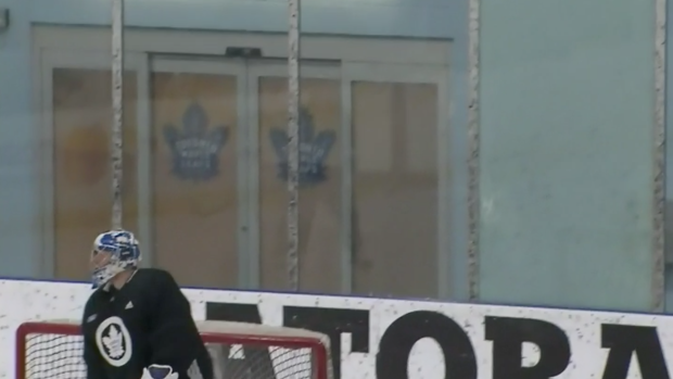 John Tavares shattering the glass at practice is ever better