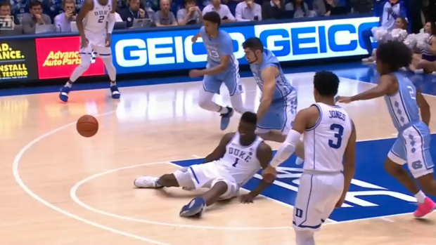 4e808a698 Zion Williamson is so strong that he literally stepped through his ...