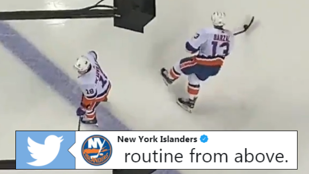 Anthony Beauvillier and Mat Barzal show off their bizarre warm-up routine before facing the Flames.