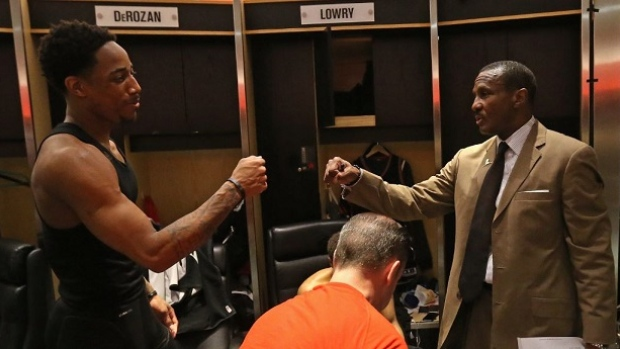 DeMar DeRozan and Dwane Casey