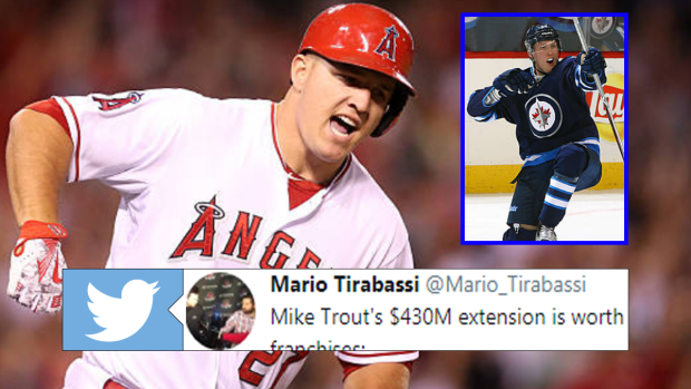 finest selection 2fcd9 667a5 Seven NHL teams have a lower net value than Mike Trout's new ...