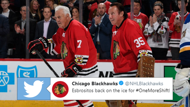 Special moment sees Phil and Tony Esposito join the Blackhawks' for pre-game warmups - Article - BARDOWN