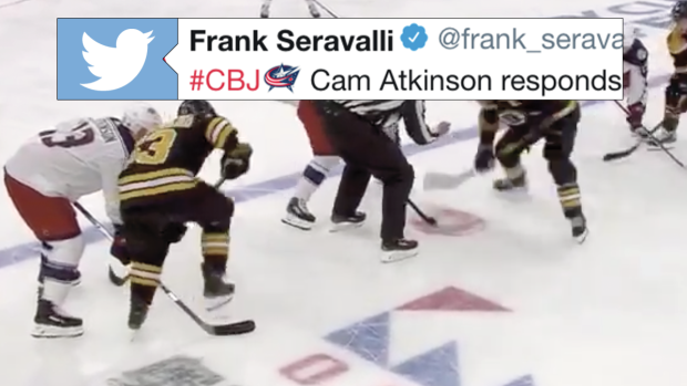 f59fee9d15f Cam Atkinson had the perfect response to Brad Marchand stepping on ...