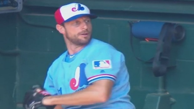 low priced 3b683 48602 Max Scherzer warms up in throwback Expos uniforms Nationals ...