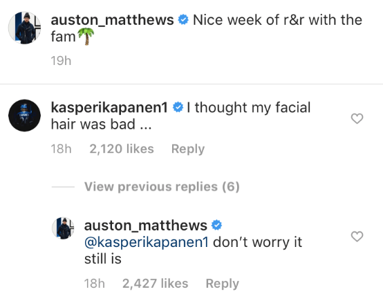 Kapanen and Matthews traded great chirps about their facial hair on
