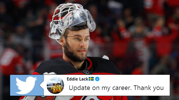 Eddie Lack in action for the New Jersey Devils on February 22, 2018.
