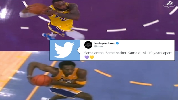 Lebron James Massive Dunk Perfectly Matches Up With A Kobe Bryant Dunk From 19 Years Ago Article Bardown