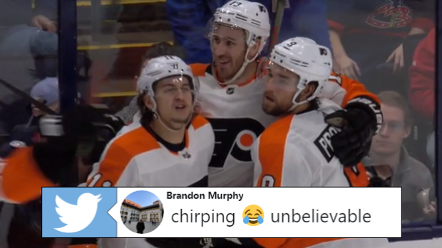 Travis Konecny with some ruthless chirping after the Flyers' OT win over the Blue Jackets.