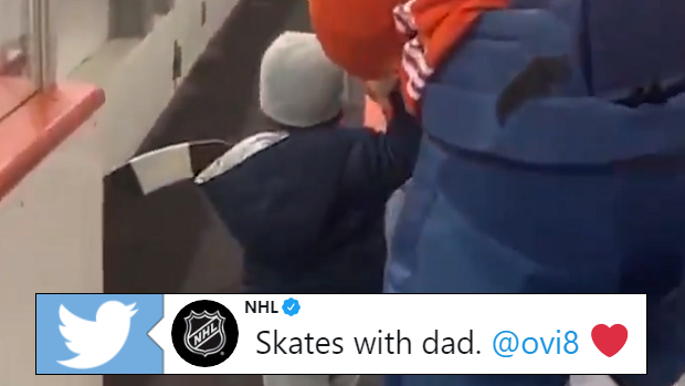 Ovi goes for a skate with his son, Sergei.