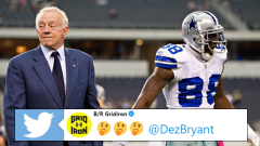 Jerry Jones left), Dez Bryant (right)