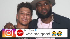 Patrick Mahomes and LeBron James at UNINTERUPTED's Victory party.