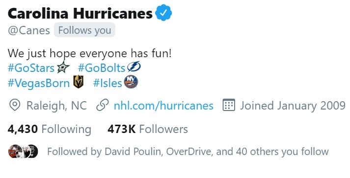 The Hurricanes New Twitter Bio Is The Best In The Playoffs Even With Them Out Article Bardown