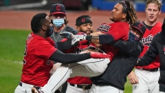 Jose Ramirez, Cleveland players celebrate