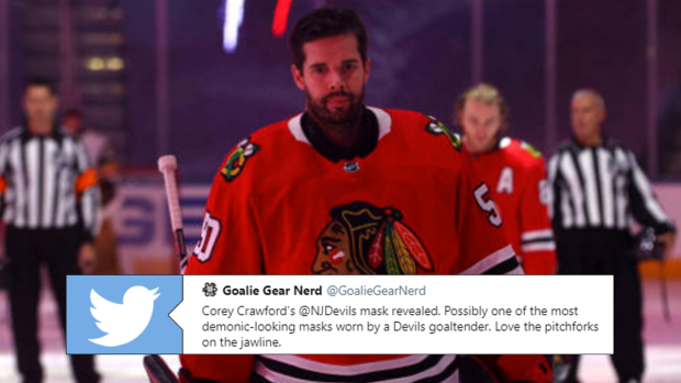 Corey Crawford S New Devils Mask Is Very Intense Article Bardown