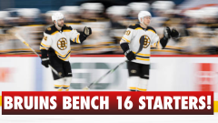 The Bruins benched 16 regulars for their final game of the season.