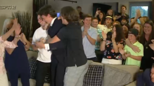 Jack Hughes was absolutely fired up to see his brother Luke get drafted to his team
