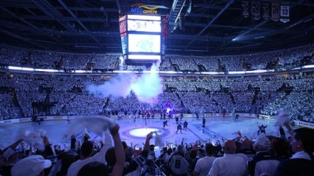 The MTS Centre during a Jets home playoff game in 2015